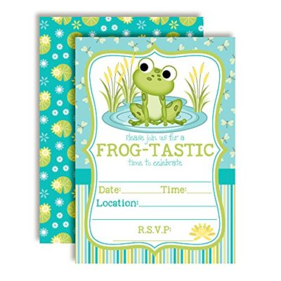 Little Frog Birthday Party Invitations (Boy)