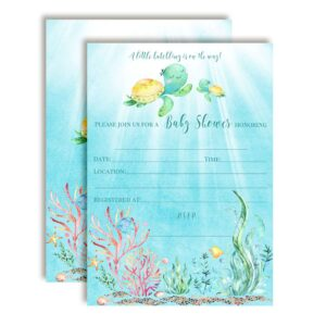 Little Hatchling Sea Turtle Baby Shower Invitations