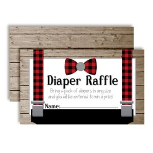 Little Man Bow Tie Buffalo Plaid Suspenders Diaper Raffle Tickets for Baby Showers