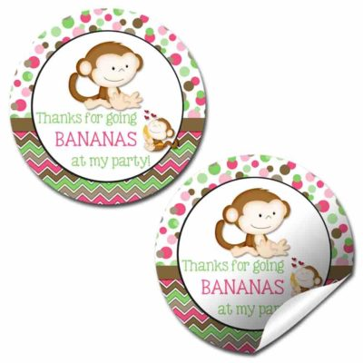 Little Monkey Go Bananas Birthday Party Stickers (Girl)