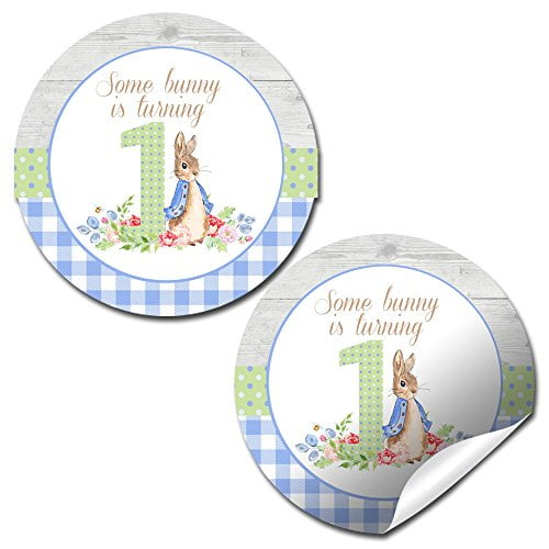 Little Rabbit 1st Birthday Stickers (Boy)