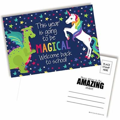 Unicorn & Dragon Back To School Postcards For Teachers