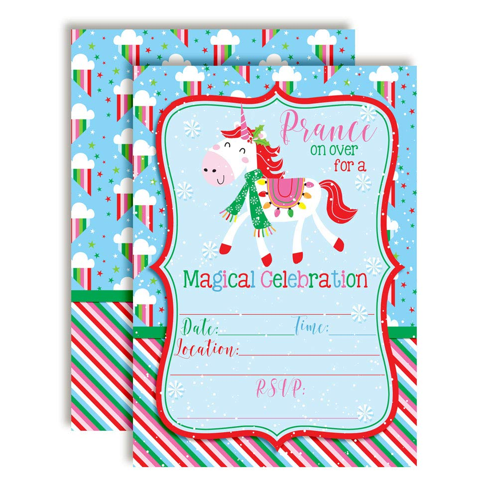 Christmas Birthday Party Invitations.Magical Unicorn Christmas Party Invitations