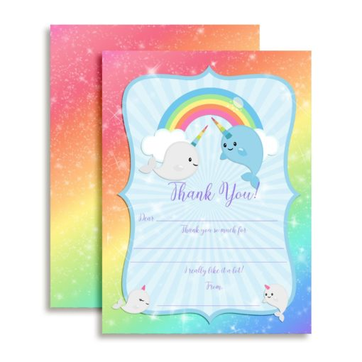 Narwhal Unicorn of the Sea Thank You Cards