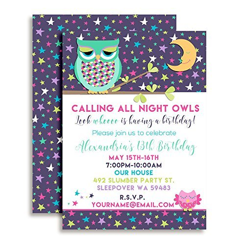 Night Owl Sleepover Slumber Party Custom Personalized Birthday Invitations