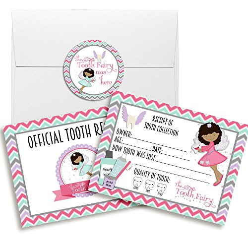 Official Tooth Fairy Receipts with Stickers (Girl, dark skin & black hair)