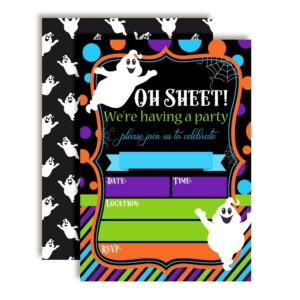 Oh Sheet! Funny Ghost Halloween Birthday Party Invitations