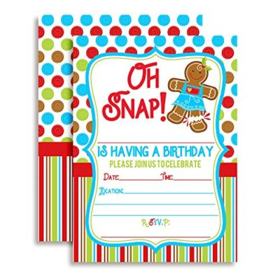Oh Snap! Gingerbread Cookie Christmas Birthday Party Invitations (Girl)