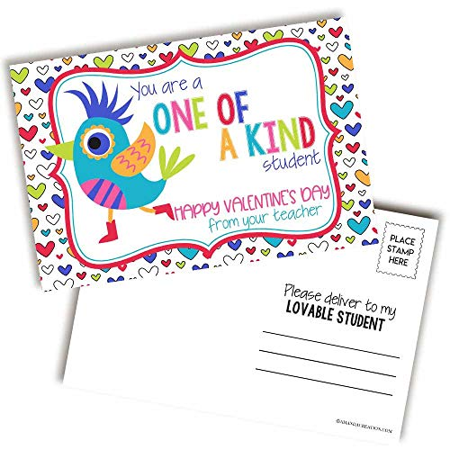Bird Valentine Teacher Postcards for Students