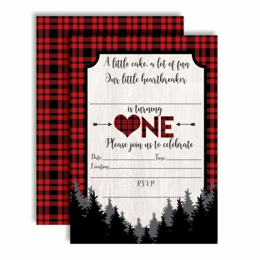 Our Little Heartbreaker 1st Birthday Buffalo Plaid Valentine Party Invitations