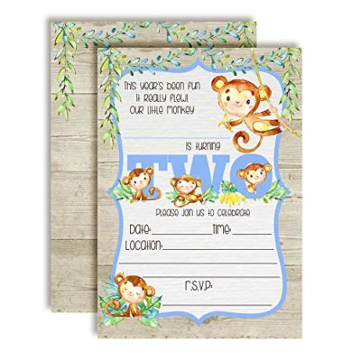 Our Little Monkey Watercolor Jungle 2nd Birthday Party Invitations Boy
