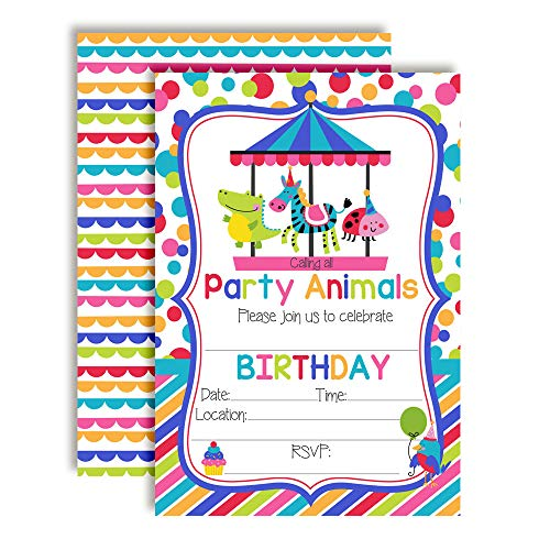 Party Animals Carousel, Merry Go Round Birthday Party Invitations