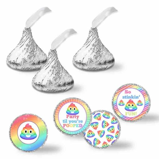 Party Til You're Pooped Rainbow Poop Emoji Birthday Party Kiss Stickers