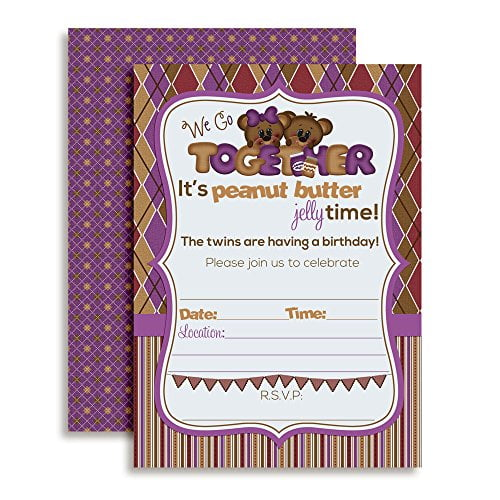 Peanut Butter Jelly Twin Birthday Party Fill In Invitations Set Of