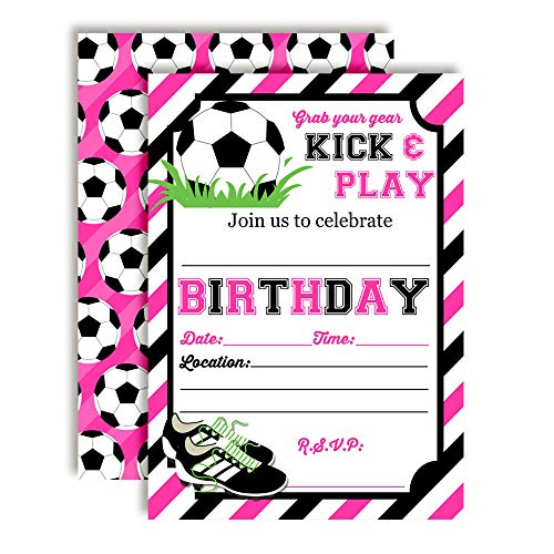 Pink & Black Kick and Play Soccer Themed Birthday Party Invitations for Girls