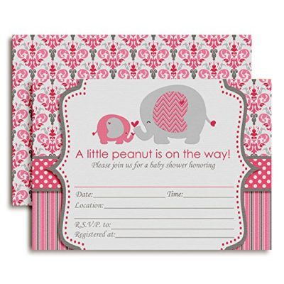 Pink Elephant Baby Shower Invitations (Girl)