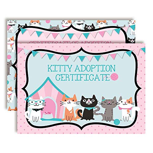 Plush Kitten Stuffed Animal Themed Certificates of Adoption for Kids' Birthday Partie