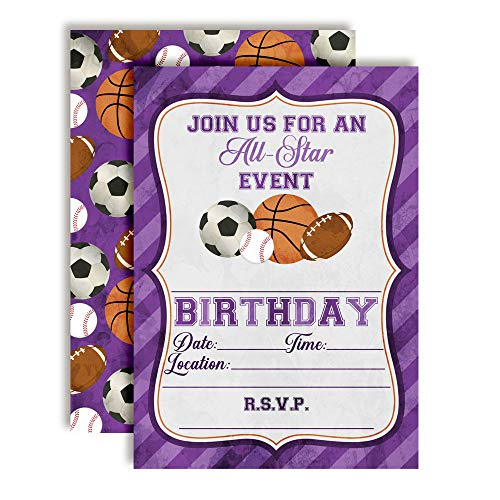 Purple All Star Sports-Themed Birthday Party Invitations for Girls