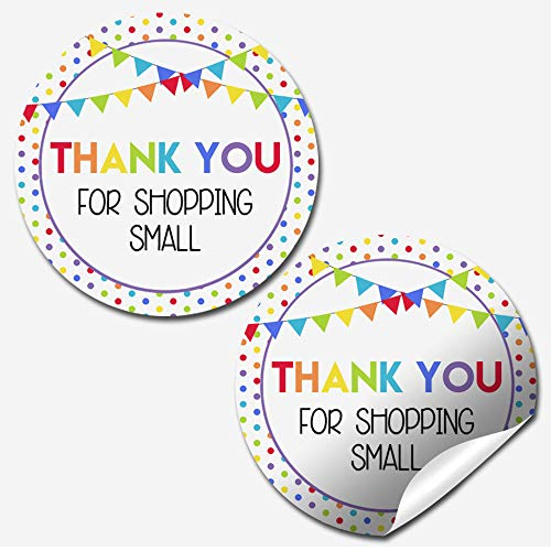 """Rainbow """"Thank You for Shopping Small"""" Stickers"""
