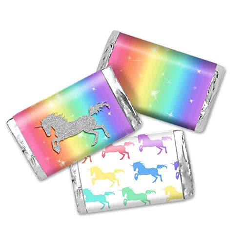 Rainbow Glitter Unicorn Birthday Party Mini Chocolate Candy Bar Sticker Wrappers for Kids