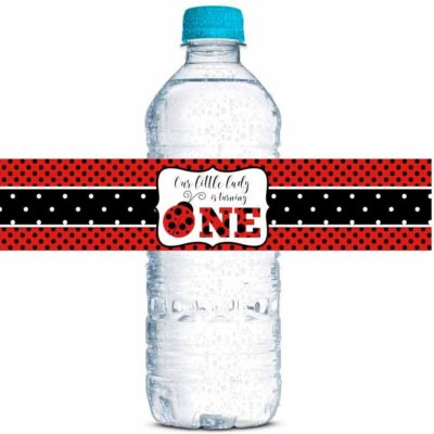 Red Ladybug Birthday Party Water Bottle Labels