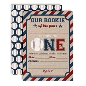 Rookie of The Year Baseball Themed 1st Birthday Party Invitations for Boys