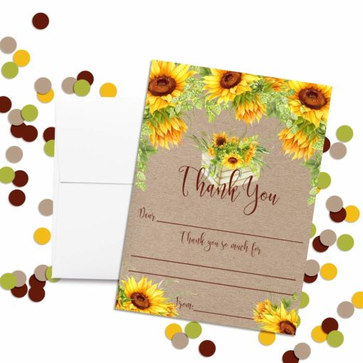Fall Sunflowers Thank You Cards