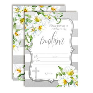Silver & White Lily Floral Baptism Invitations