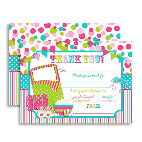 Sleepover Birthday Thank You Notes For Kids Ten 4 X 5 5 Fill In