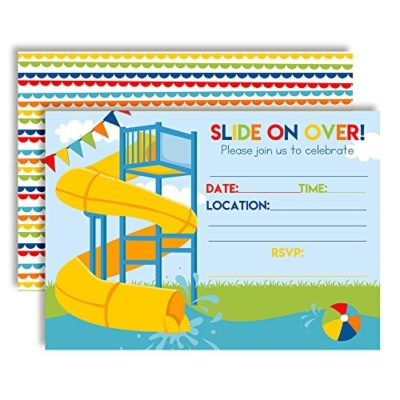 Slide Into Summer Waterslide Birthday Party Invitations (Boy)