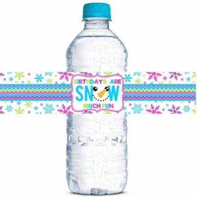 Snowman Face Birthday Party Water Bottle Labels (Girl)
