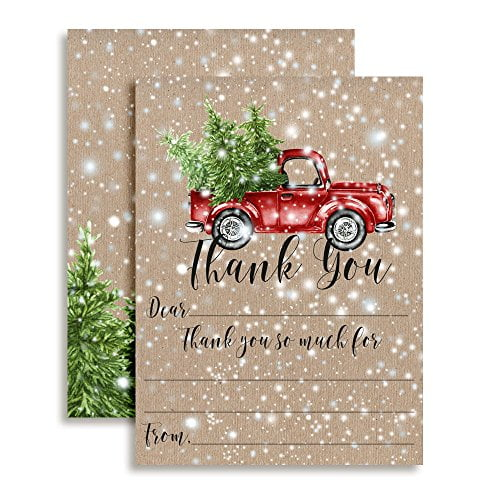 Snowy Christmas Truck Thank You Cards