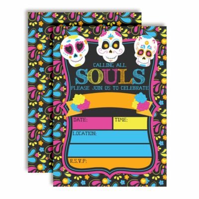 Sugar Skull Day of The Dead Halloween Birthday Party Invitations