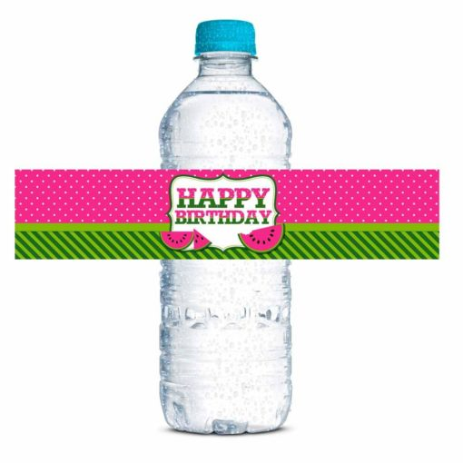 Pink Watermelon Birthday Party Water Bottle Labels