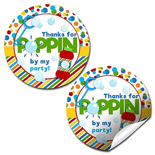 Thanks for Poppin' By Bubble Birthday Party Stickers