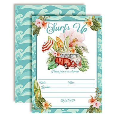 The Perfect Wave Surfer Birthday Party Invitations