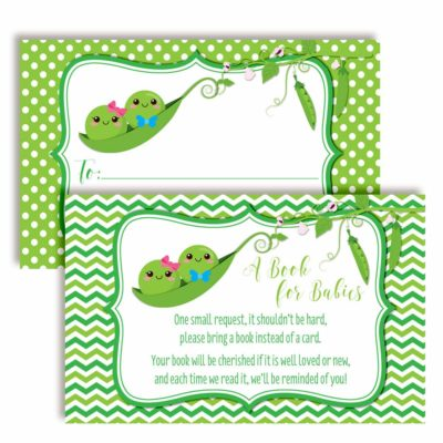 "Two Peas in A Pod ""Bring A Book"" Cards for Twin Baby Showers (Boy, Girl)"