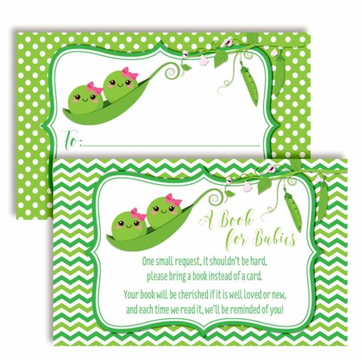 "Two Peas in A Pod ""Bring A Book"" Cards for Twin Baby Showers (Girls)"