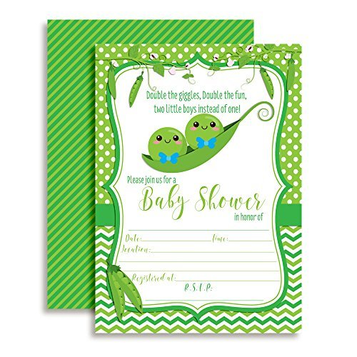 Two Peas In A Pod Twins Baby Shower Invitations Boys