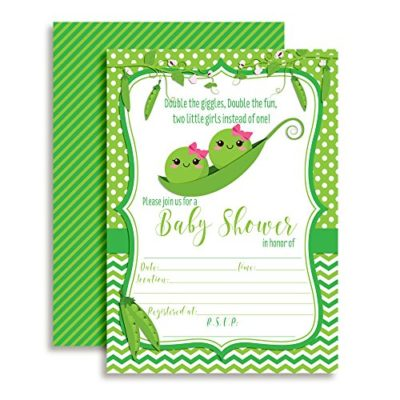 Two Peas in a Pod Twins Baby Shower Invitations (Girls)