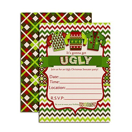 Ugly Christmas Sweater Party Invite.Ugly Christmas Sweater Party Invitations 20 5 X7 Fill In Cards With Twenty White Envelopes By Amandacreation