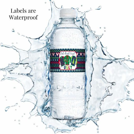ugly sweater water bottle labels