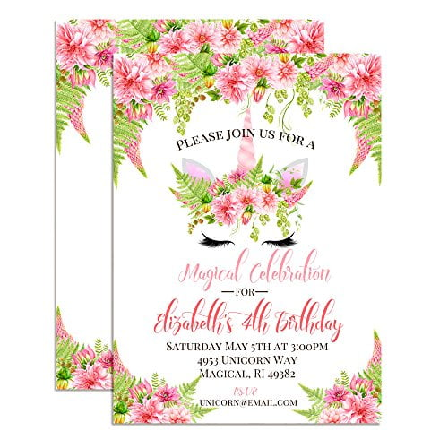 Unicorn Face with Watercolor Pink Dahlias Custom & Personalized Birthday Party Invitations for Girls