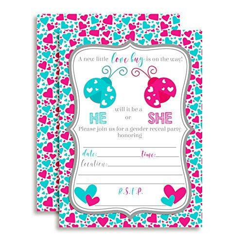 Valentine's Day Love Bug Gender Reveal Baby Shower Invitations