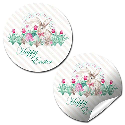 Watercolor Bunny With Tulips Happy Easter Stickers