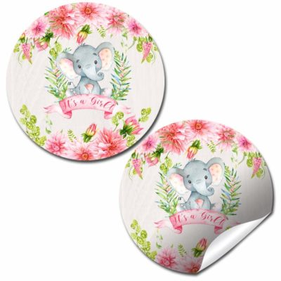 Watercolor Dahlia Floral Elephant Baby Shower Stickers (Girl)