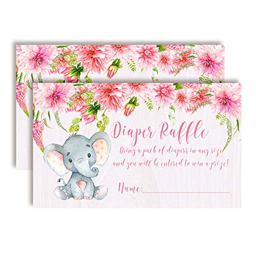 Watercolor Dahlia Floral Elephant Diaper Raffle Tickets for Baby Showers (Girl)
