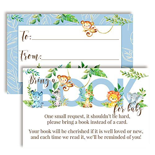 "Watercolor Jungle Animals ""Bring A Book"" Cards for Baby Showers (Boy)"