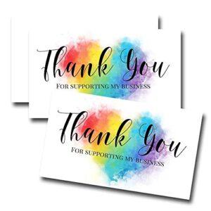 Watercolor Rainbow Heart Thank You Customer Appreciation Package Inserts for Small Businesses