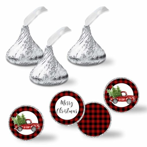 Watercolor Red Pickup Truck Christmas Kiss Stickers